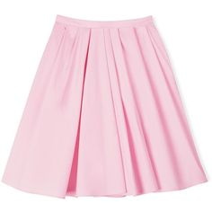 Carven Knee Length Pleated Skirt ($98) ❤ liked on Polyvore featuring skirts, bottoms, pink, faldas, light pink, light pink pleated skirt, knee length skirts, high rise skirts, lined skirt and high-waisted skirt