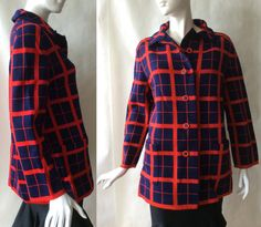 Marchesa di Gresy for I Magnin & Co. by afterglowvintage European Style, European Fashion, Knitted Coat, Marchesa, Red Plaid, Size 16, 1960s, Vintage Outfits, Mid Century
