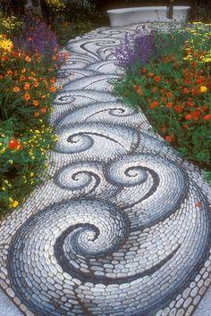 Eclectic Landscape/Yard with Pathway, Greek wave tile, exterior stone floors, Pebble floor, Custom tile mosaic