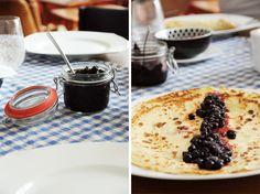 Homemade pancakes with homemade blueberry jam, Berlin