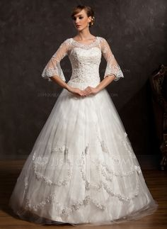 Wedding Dresses - $222.99 - Ball-Gown V-neck Floor-Length Satin Tulle Wedding Dress With Lace Beadwork (002015168) http://jjshouse.com/Ball-Gown-V-Neck-Floor-Length-Satin-Tulle-Wedding-Dress-With-Lace-Beadwork-002015168-g15168