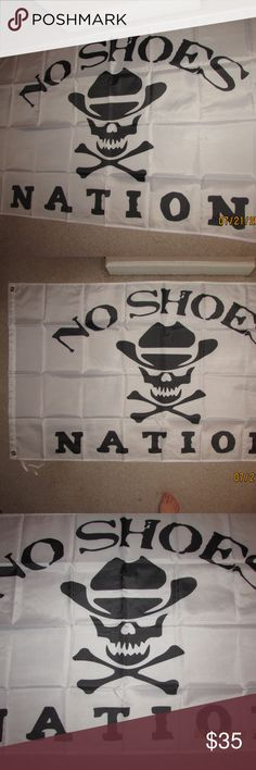Kenny Chesney NO SHOES NATION 3X5 Feet Flag Banner An Awesome Flag////Kenny Chesney NO SHOES NATION 3X5 Feet Flag Banner for your Man Cave, Bar, Garage, Bedroom, Dorm Room, Office, Tailgate Party, House Front Porch, Apartment Balcony or Deck, etc for indoors or outdoors. Has 2 Metal Grommets on side for attaching to flag pole. See last pic of the back of the flag. Brand New in Package. Chesney Accessories Scarves & Wraps