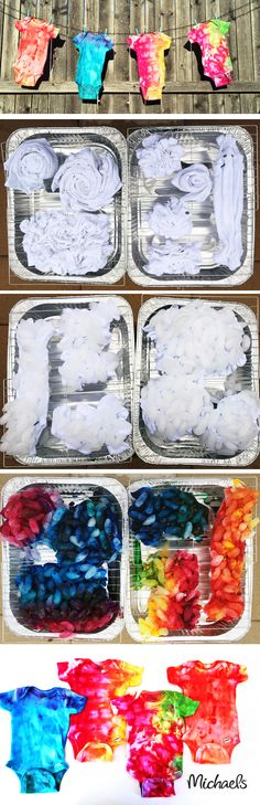 To Ice Dye - A New Tie Dye Trend DIY Ice Dyeing Tutorial. Step by step to create these bohemian style ice dyed tie dye onsiesDIY Ice Dyeing Tutorial. Step by step to create these bohemian style ice dyed tie dye onsies Shibori, How To Tie Dye, How To Dye Fabric, Dyeing Fabric, Clothes For Summer, Ty Dye, Lila Baby, Tie Dye Party, Tie Dye Techniques