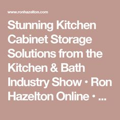 Stunning Kitchen Cabinet Storage Solutions from the Kitchen & Bath Industry Show • Ron Hazelton Online • DIY Ideas & Projects