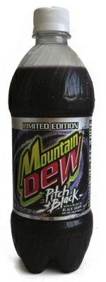pitch black Mountain Dew
