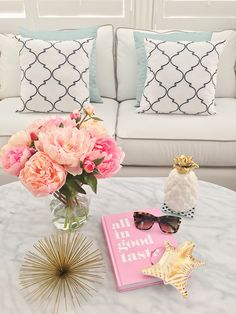 StylishPetite.com | Home Decor: peonies, gold urchin, gold pineapple, zebra disse, all in good taste book, marble coffee table