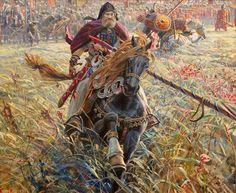 """Today's Date,  Old Russian Glory  """"Winning Alexander Peresvet"""" , (2005) At Battle of Kulikovo, September 8, 1380 Painting by PavelViktorovichRyzhenko,  Russian, 1970 - 2014"""