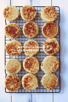 Milk and Honey: Buttermilk Crumpets with Blackberry Butter. In prep for the blueberry lemon curd Libbi ; Scones, Cake Pops, Scottish Dishes, Second Breakfast, Breakfast Club, Muffins, Savoury Baking, Party Food And Drinks, Crumpets