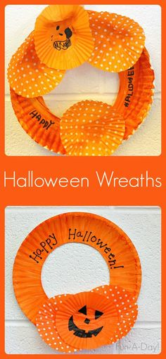 Halloween craft for kids to create with cupcake liners and paper plates - so easy!