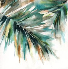 Palm Leaves Painting Original Watercolor Painting by CanotStop