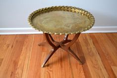 Vintage Moroccan Table Folding Brass Tray Side by saltandginger, $255.00