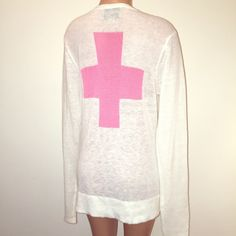 Wildfox 'pink cross' white label WILDFOX  White labelsize smalllong/slouchy fit, white cardigan with pink crosses on the front & one large cross on the back thin material, front slip in pockets, button downthis is like brand new, I purchased it but never wore it, and it's a shame bc it's the perfect sweater for so many reasons Wildfox Sweaters Cardigans