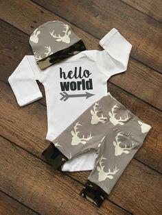Nouveau-né bébé venir tenue domicile Deer et Camo par GigiandMax
