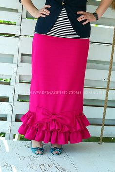 BeMagpied Pink Ruffled Bow Maxi Skirt Ladies by BeMagpied on Etsy, $50.00