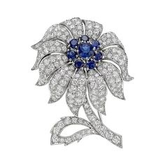 Tiffany & Co., Sapphire Diamond Platinum Flower Brooch