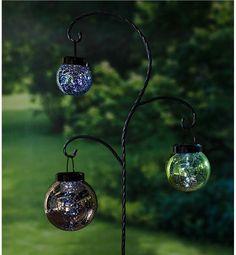 Hanging Mercury Glass Solar Lanterns with Garden Stake Set