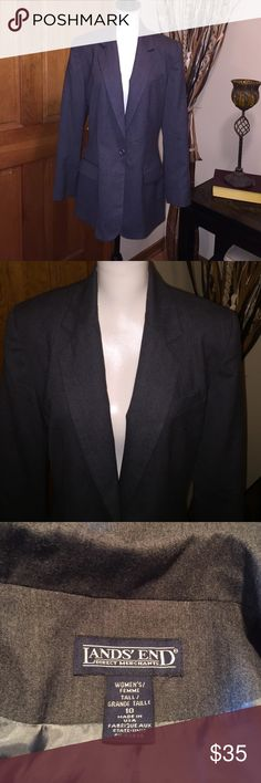 Lands End Long fully lined blazer NWOT BEAUTIFUL AND sophisticated Lands End long blazer - fully lined - charcoal gray color. NWOT - pockets still sewn closed. Lands' End Jackets & Coats Blazers