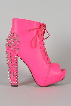 Rock Neon Studded Spike Lace Up Platform Bootie $64.90