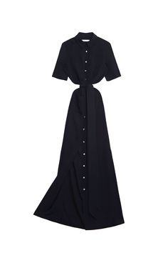 This is a truly classic, straight shirt-dress with short sleeves, that  comes with a long tie, which can be tied around the waist for a more  feminine look. Made out of lightweight crepe, which means you can layer  with you favourite jumpers without over-heating. It flows beautifully as  you walk and it is as versatile as any dress can get. With two pockets at  just below waist level, a neat collar and a knee-high side slit on the  left-hand side.  Lightweight JH Crepe– 100% silk  • Dry…