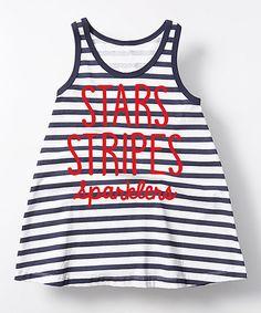 Navy & White Stripe Stars A-Line Dress - Toddler & Girls | zulily