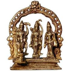 Amazon.com: Antique and Collectibles - Hindu God Rama Sita and Laxman Brass Sculpture: ShalinIndia