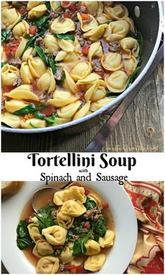Tortellini Soup with Spinach and Sausage - An Affair from the Heart -- Only 5 Ingredients to this delicious soup made with Italian sausage, tortellini and spinach.