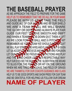The Baseball Prayer 2 personalized with Baseball by JoFloDesigns33