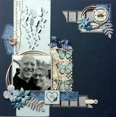 // Bonjour, Je continue à voir la vie en bleu avec cette nouvelle page ;-).  Les ronds en carton-bois sont des nouveautés...