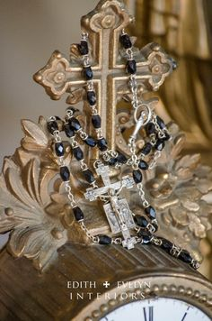 Vintage Sterling Silver Rosary Black Jet Beads by edithandevelyn