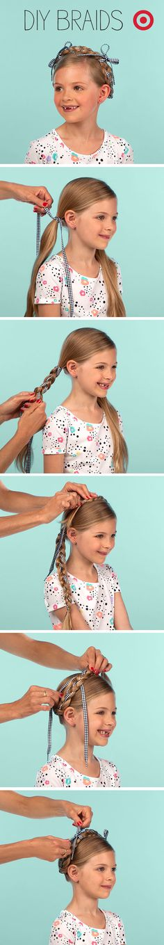 Easy criss-cross braids with shoelaces gets your daughter ready for school pictures.