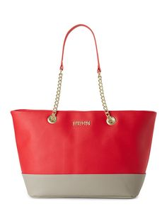 """Check out """"Flame & Mink Chain Color Block Multiplier Tote"""" from Century 21"""