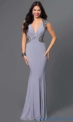 Beaded Sleeveless Long Grey Gown With Cut Outs