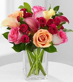 FTD Flowers Colors of Love - 12 Stems With Vase