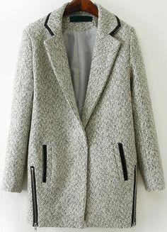 Grey Lapel Long Sleeve Zipper Woolen Coat 61.00