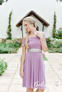 Isabel design Gelique bridesmaids dress. Drop sleeve bridesmaid dress. Available in a variety of sizes and colours from Brides of Somerset. Long, knee-length or short available. Knee length bridesmaids dress.