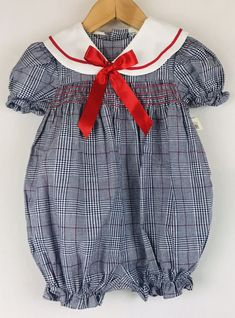 6b78a96a270a Details about Vintage Smocked Romper Plaid Macy s NWT Collared 18Mo