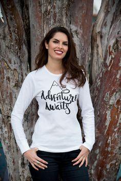 Adventure Awaits. Womens Graphic Tee. Cute T by simplysweetapparel