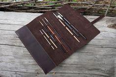 Купить Пенал для кистей №2 - коричневый, пенал, пенал для кистей, чехол, кисти, натуральная кожа