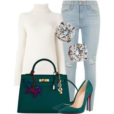 Untitled #76 by milanibelvedere on Polyvore featuring Chloé, Frame Denim, Christian Louboutin, Hermès and Tiffany & Co.