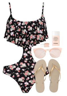 Untitled #9 by chocolatemilky on Polyvore featuring polyvore fashion style Forever 21 Havaianas Chanel Essie clothing