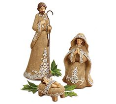 "#burtonandburton Hand-painted 3-piece poly resin nativity.  Textured to have burlap look and accented in glitter.<br><br>Joseph: 9""H X 3 1/2""W X 3 1/4""D.<br>Mary: 6 1/2""H X 3 3/4""W X 4""D.<br>Jesus: 2""H X 2 1/4""W X 2 3/4""D.<br>3 sets."