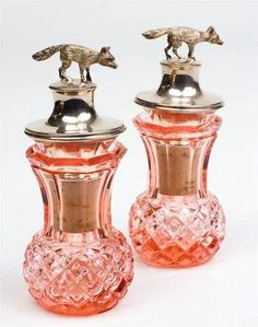 """Beautiful 5"""" Pink depression Glass Spices Bottles w/Figural Sterling Fox Stopper"""