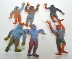 Vintage 60's Zombie Oily Rubber Monster Funny Creatures Jiggler Display + 6 Toys | eBay