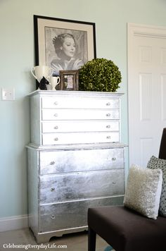 silver Leaf Dresser makeover by Jennifer Carroll
