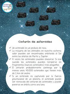 Asteroids, poster for kids, solar system, Spanish, SISTEMA SOLAR -Orientacion Andujar Space Projects, Science Projects, School Projects, Solar System Model, Our Solar System, Comets And Asteroids, Solar System Activities, Asteroid Belt, Go Math