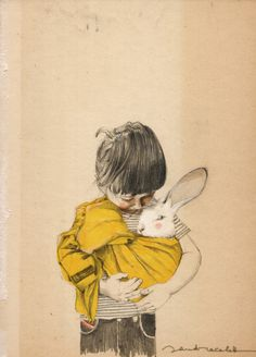 Whimsical bunny and the boy watercolour art illustration to wish you all well and give you my thanks for following me on Pinterest this Easter. illustrazioni