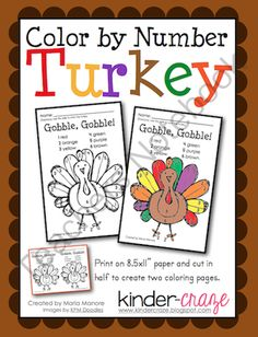 Color By Number Thanksgiving Turkey from Kinder Craze on TeachersNotebook.com (1 page)