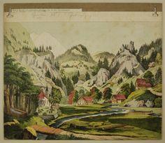 Schreiber: Gebirgsgegend - Hintergrund Nr. 38 [alte Ausgabe]. / Kühn: Wald - Hintergrund Nr. 7 (Großes Format)