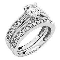 .925 Sterling Silver Round-cut CZ Cubic Ziconia Solitaire with side-stone Ladies Wedding Engagement Ring and Wedding Band 2 Two Piece Set (Size 5 to 9) The World Jewelry Center. $52.00. Promptly Packaged with Free Gift Box and Gift Bag. Fashionable and elegant styling. Made From Beautiful .925 Sterling Silver. Special manufacturing process held to ensure less wear and tarnish
