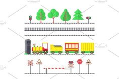 Cartoon toy passenger train, kids railroad, railway signs and semaphores Graphics Cartoon toy passenger train, kids railroad, railway signs and semaphores. Toy train locomotive with by MicroOne Mazes For Kids Printable, Cartoon Toys, Creative Sketches, Paint Markers, Pencil Illustration, Business Card Logo, Watercolor And Ink, Painting & Drawing, Free Design